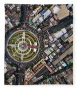 Wongwian Yai Roundabout Surrounded By Buildings, Bangkok Fleece Blanket by Pradeep Raja PRINTS