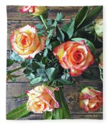 Wood And Roses Fleece Blanket