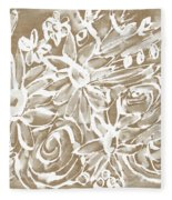 Wood And White Floral- Art By Linda Woods Fleece Blanket