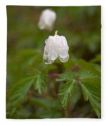 Wood Anemone Heavy From The Rain Fleece Blanket