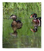 Wood Duck Couple Fleece Blanket