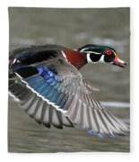Wood Duck In Action Fleece Blanket