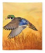 Wood Duck In Flight Fleece Blanket