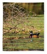 Wood Duck In The Fall Fleece Blanket