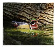 Wood Duck In Wood Fleece Blanket