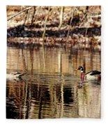 Wood Ducks Enjoying The Pond Fleece Blanket