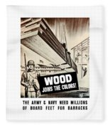 Wood Joins The Colors - Ww2 Fleece Blanket