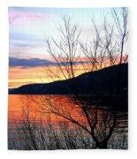 Wood Lake Sunset Fleece Blanket