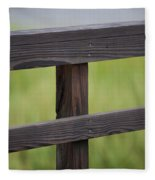 Wood Railing Over The Marsh Fleece Blanket