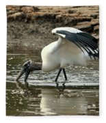 Wood Stork Fishing Fleece Blanket
