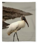 Wood Stork Walking Fleece Blanket