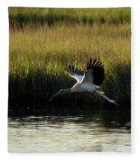 Wood Stork Winged Flight Fleece Blanket
