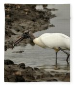 Wood Stork With Fish Fleece Blanket