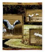 Wood Storks Of Oak Grove Island Fleece Blanket