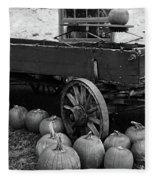 Wood Wagon And Pumpkins Black And White Fleece Blanket
