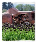 Woodburn Oregon - Tractor And Field Of Tulips Fleece Blanket