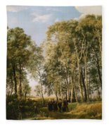 Wooded Landscape With A Group Of Figures In Costume Fleece Blanket