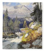Wooded Landscape With A Path And A Mountain Beyond Fleece Blanket