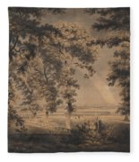 Wooded Landscape With Rainbow Fleece Blanket