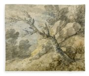 Wooded Landscape With Rocks And Tree Stump Fleece Blanket