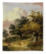 Wooded Landscape With Woman And Child Walking Down A Road  Fleece Blanket