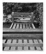 Wooden Bench Fleece Blanket