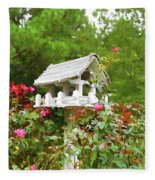 Wooden Bird House On A Pole 3 Fleece Blanket