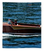 Wooden Boat Waves On Tahoe Fleece Blanket