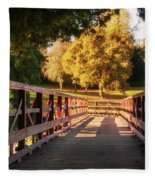 Wooden Bridge On The Rye Water - Maynooth, Ireland Fleece Blanket