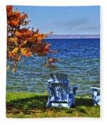 Wooden Chairs On Autumn Lake Fleece Blanket