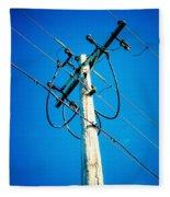 Wooden Electric Pole Fleece Blanket