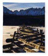 Wooden Fence And Sawtooth Mountain Range Fleece Blanket