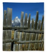 Wooden Fence, Grand Tetons Fleece Blanket
