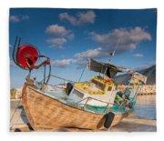 Wooden Fishing Boat On Shore Fleece Blanket