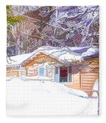 Wooden House In Winter Forest Fleece Blanket