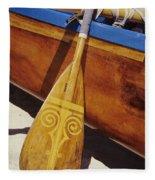Wooden Paddle And Canoe Fleece Blanket