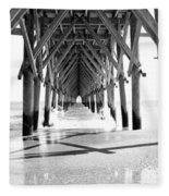 Wooden Post Under A Pier On The Beach Fleece Blanket