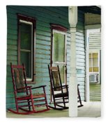 Wooden Rocking Chairs On Porch Fleece Blanket