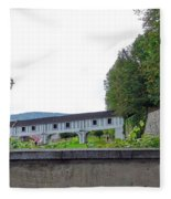 Wooden Walkway As Seen From The Cesky Krumlov Casle Gardens  Fleece Blanket