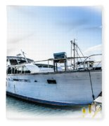 Wooden Yacht In Mooring Fleece Blanket