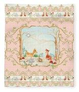 Woodland Fairy Tale - Blush Pink Forest Gathering Of Woodland Animals Fleece Blanket
