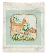 Woodland Fairy Tale - Deer Fawn Baby Bunny Rabbits In Forest Fleece Blanket