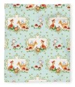 Woodland Fairy Tale - Sweet Animals Fox Deer Rabbit Owl - Half Drop Repeat Fleece Blanket