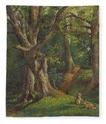Woodland Scene With Rabbits Fleece Blanket