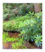 Woodland Stream Forest Interior Fleece Blanket
