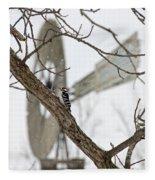 Woodpecker And Windmill Fleece Blanket