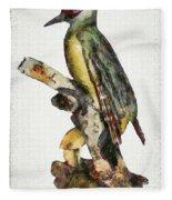 Woodpecker Red Heads Fleece Blanket