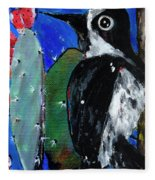 Woodpecker With Prickly Pear Cactus  Fleece Blanket