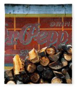 Woodpile With Taste - Dr Pepper Rustic Antique Red Country Southwest Fleece Blanket