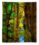 Woods Approach To Lake Fleece Blanket